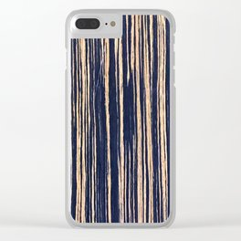 Vertical Scratches on Dark Blue Metal Texture Clear iPhone Case