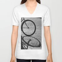 bicycle V-neck T-shirts featuring bicycle by habish