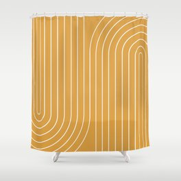 Minimal Line Curvature - Golden Yellow Shower Curtain