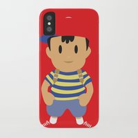 earthbound iPhone & iPod Cases featuring Ness - Earthbound - Super Smash Brothers - Minimalist by Adrian Mentus