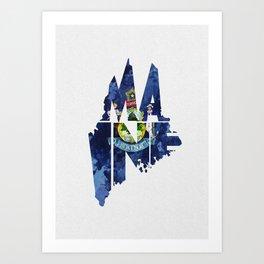 Maine Typographic Flag Map Art Art Print