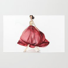 Red Fashion Watercolor Model Rug