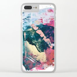 Taos: A vibrant abstract mixed-media painting in various colors by Alyssa Hamilton Art Clear iPhone Case
