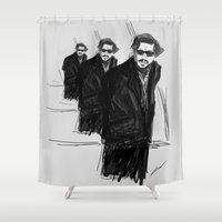 johnny depp Shower Curtains featuring DEEP DEPP by Cyrus Wang