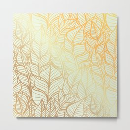 Bohemian Gold Feathers Illustration With White Shimmer Metal Print