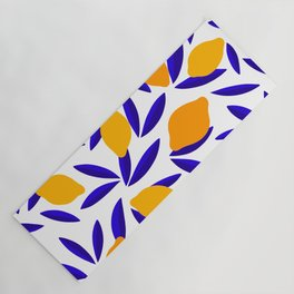 Blue and yellow Lemon Summery Pattern Yoga Mat