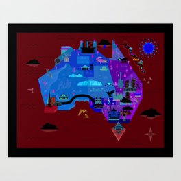 Graphic Map of Australia (Made for 'Light Blue' or 'Tri-Blue') Art Print