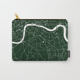 Green on White London Street Map Carry-All Pouch