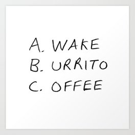 Breakfast Coffee ABC Art Print