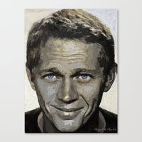 steve mcqueen Canvas Prints featuring Hollywood - Steve McQueen by Miguel A. Martin