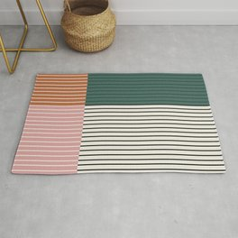 Color Block Line Abstract V Rug