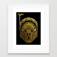 gold foil Framed Art Prints featuring Mandala BobaFett - Gold Foil by Spectronium - Art by Pat McWain