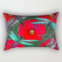ANTIQUE CRACKLED  BLUE DRAGONFLIES ON RED HOLLYHOCK FLOWERS Rectangular Pillow