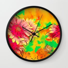 Fall Flowers In Soft Abstract Wall Clock