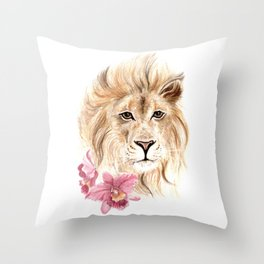 Lion and Orchids - Fauna and Flora 2012 Throw Pillow