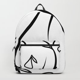 Geometric monochrome pattern from plant black elements on a white background. Backpack