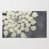 plants Area & Throw Rugs featuring Black and White Queen Annes Lace by Erin Johnson