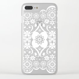 White seamless lace tissure pattern texture Clear iPhone Case