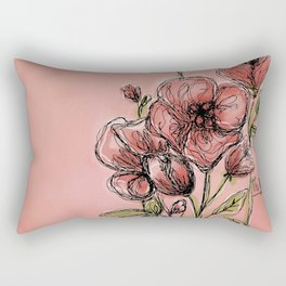 Poppies on rose Rectangular Pillow