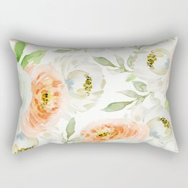 Big Peach and White Flowers Rectangular Pillow