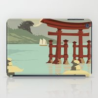 travel poster iPad Cases featuring Kaiju Travel Poster by Duke Dastardly