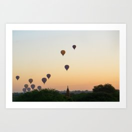 Sunrise with hot air balloons   Temples of Bagan   Myanmar Travel Photography Art Print