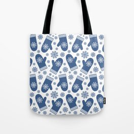 Wintery Blue Snowflake Mittens Tote Bag