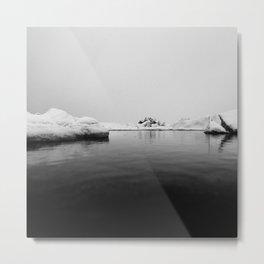 Ice lake black white Metal Print