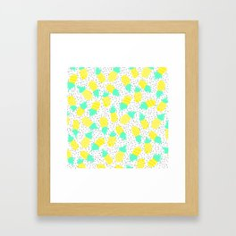 Modern tropical mint yellow pineapples black polka dots pattern illustration Framed Art Print