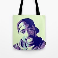 tupac Tote Bags featuring Tupac by victorygarlic