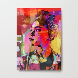 Lady with headscarf in mixed media style Metal Print