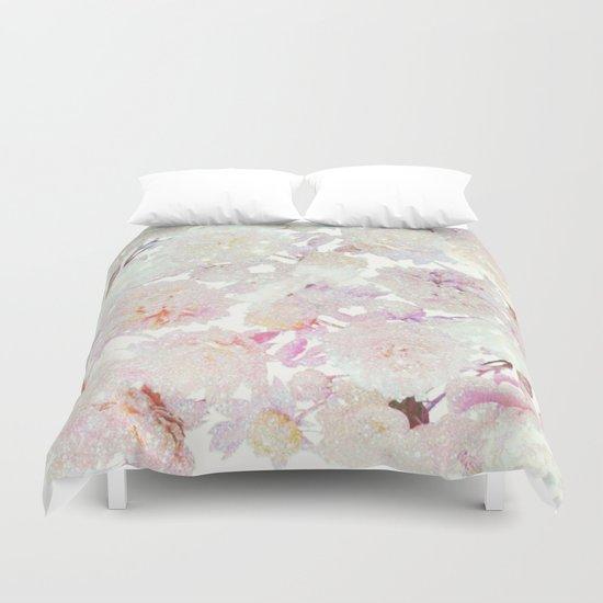 glittering pastel floral Duvet Cover