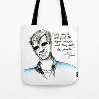 kerouac Tote Bags featuring Ti Jean/ Jack Kerouac by Runk the Skunk