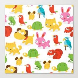 Happy Pet Shop Animals Pattern Canvas Print