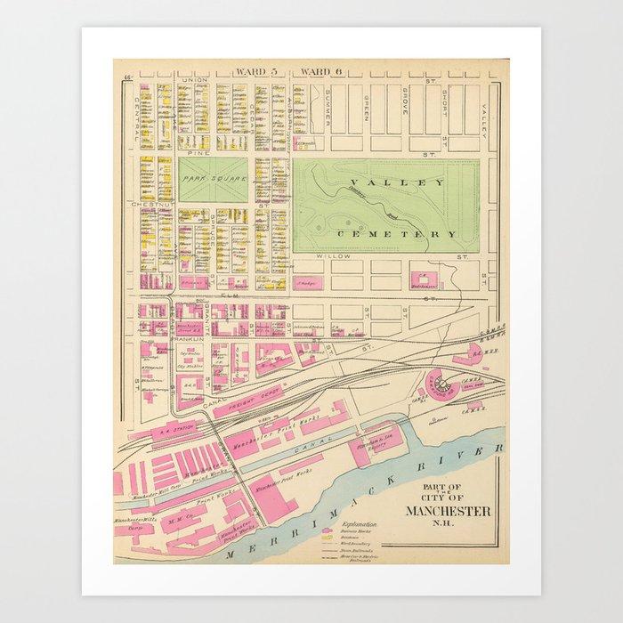 Vintage Map of Manchester NH (1892) (2) Art Print by bravuramedia ...