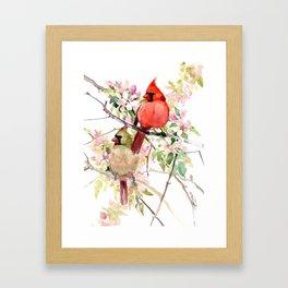 Cardinal Birds and Spring, cardinal bird design Framed Art Print