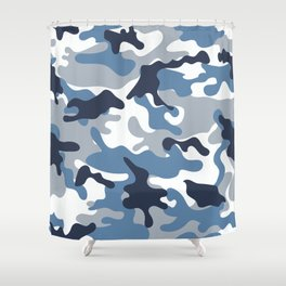Blue and White Camo Shower Curtain