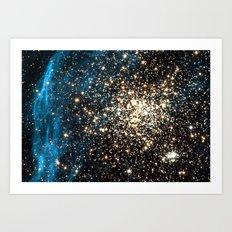 Blue Aurora Galaxy Star Field Art Print