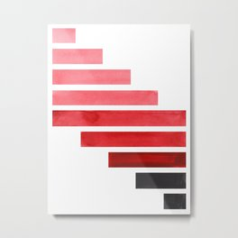 Red Midcentury Modern Minimalist Staggered Stripes Rectangle Geometric Pattern Watercolor Art Simple Metal Print