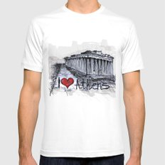 I love Athens MEDIUM Mens Fitted Tee White