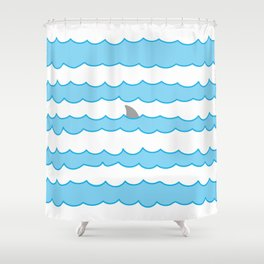 Funny Minimal Illustration Shark Fin and Waves Shower Curtain