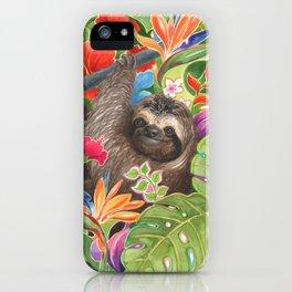 Sloth among exotic flowers iPhone Case