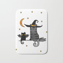 2 cats – Bat and Wizard on a broomstick for Halloween Bath Mat