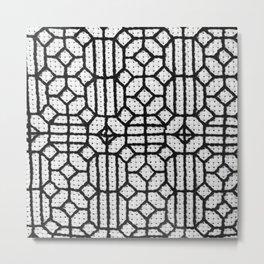 Vintage Window Grille Cross-Stitch Pattern #1 Metal Print
