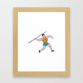 Javelin Throw Track and Field Cartoon Framed Art Print