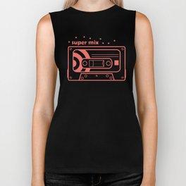 Pink Retro Mix Cassette Biker Tank