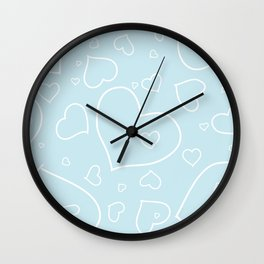 Palest Blue and White Hand Drawn Hearts Pattern Wall Clock