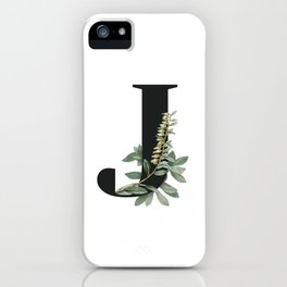 Letter J Initial Floral Monogram Black And White Poster iPhone Case