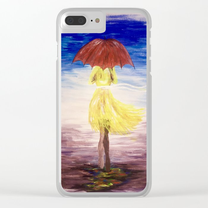 Walkin' in the rain Clear iPhone Case