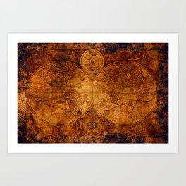 Peace on Earth Antique Map Art Art Print